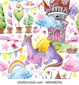 children's fairy tale seamless pattern. watercolor fairy dragon illustration. fairytale castle background