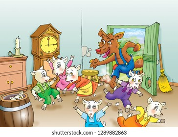 children's fairy tale wolf and the seven little goats