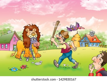 children's fairy tales The Donkey in the Lion's Skin
