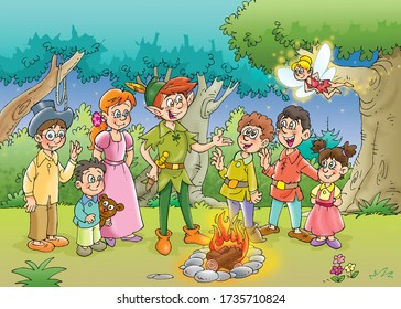 children's fairy tales, flying boy in green dress