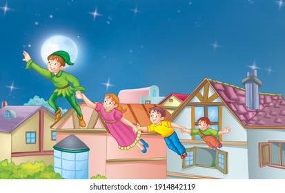 Children's fairy tales, flying boy in green dress. Illustration for the children.