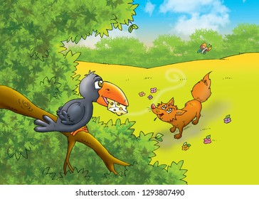 children's fairy tales fox with crow