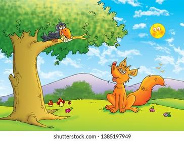 children's fairy tales fox vith crow