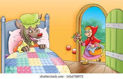 children's fairy tales little girl with Wolf