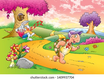children's fairy tales turtle with rabbit