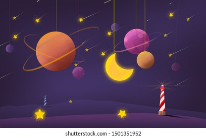 Children's illustration, night, lighthouses, yellow moon, stars, planets hang on a thread