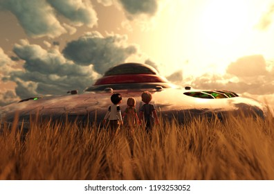 Children's looking to a UFO saucer,3d illustration