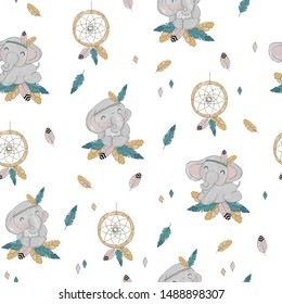 Children's pattern with cute elephants, dream catchers and feathers in the style of boho. Childish background for fabric and textiles