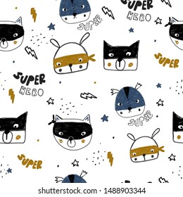 Children's pattern with superhero animals. Childish background for fabric and textiles