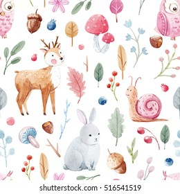 Children's pattern in watercolor technique. fairy forest with animals and plants. Deer. hare. snail. owl. Mushrooms and berries