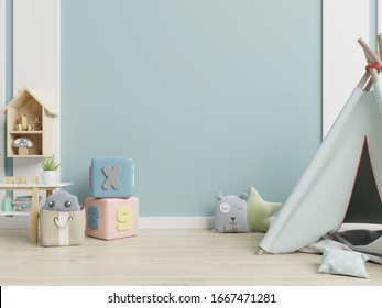 Children's playroom with tent and table sitting,doll. 3D rendering