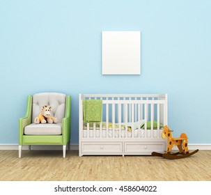 Children's room with a bed, sofa, toys, empty white painting for photos against the backdrop of a blue wall. 3d illustration