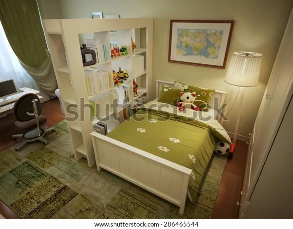 Childrens Room Boys Bed Shelves Desk Stock Illustration 286465544