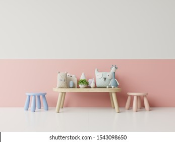Children's room with bright Coral color wall,3D rendering
