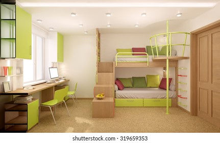 Children's room done in bright colors with natural materials. Bunk bed designed for two children.