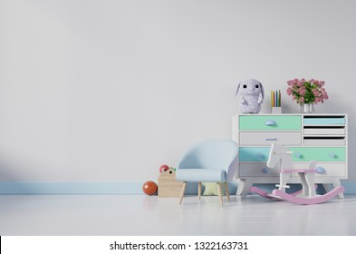 Children's room with easel armchair and cabinet.Children's room with bright color wall.3D rendering
