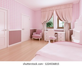 Children's room for girls in classic style in light pink colors and white furniture. 3D rendering.