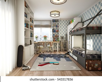 Children's room in provence style. 3d render