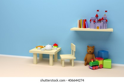 Children's room with toys. A blank wall, a table with coffee and books, the castle on the shelf, teddy bear, train and cubes. 3d illustration