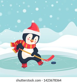 Childrens sports concept. Christmas penguin play ice hockey in the winter. Kids hockey.  illustration