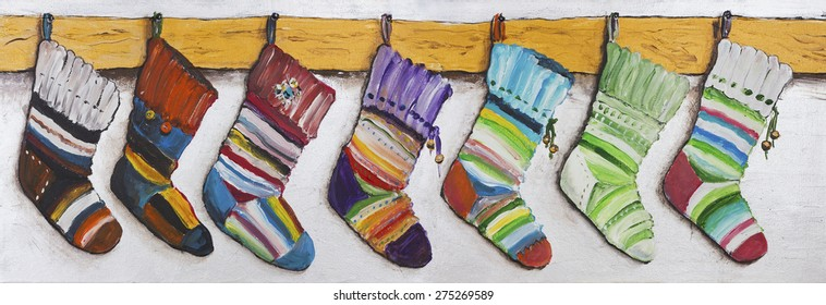 Children's striped color socks for Christmas gifts hang over a fireplace. Handmade acrylic art painted illustration on canvas