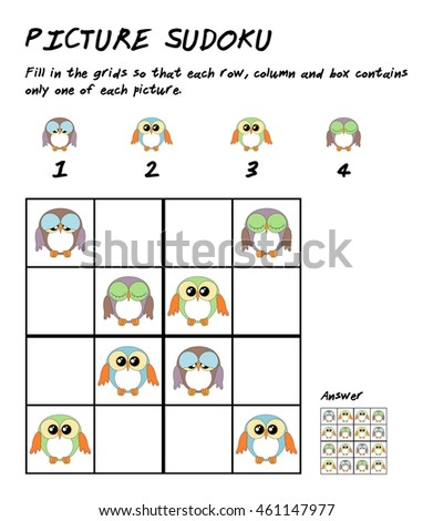 childrens sudoku puzzle cute owls childrenのイラスト素材 461147977