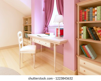 Children's table in the children's room for a girl. 3D rendering.