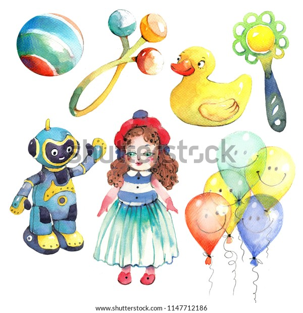 Children's toys, doll, robot, watercolor picture