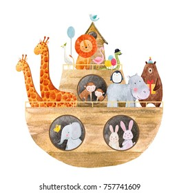 Children's watercolor illustration of a cute Noah's ark with the animals, holiday greeting card. Illustration for the Baptism. ship with animals