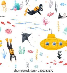 Children's watercolor marine pattern, yellow bathyscaphe, sea fish and diver/ submarine pattern