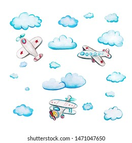 Children's watercolor set with airplanes. Watercolor illustration with airplane and clouds and on white background. Passenger planes with stars and stripes.