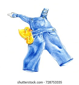 Children's wear -  jean overalls isolated