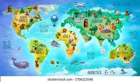 children's world map with mainland fauna