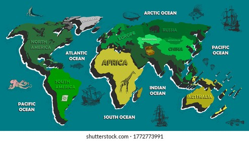 children's world map with oceans