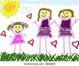 Child's Drawing with 2 Moms