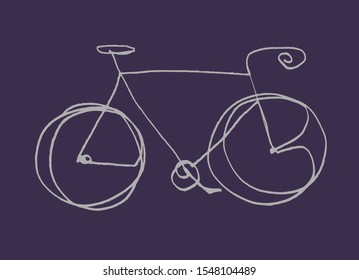Child's drawing of a bicycle. Hand drawn simple continuous one line bicycle illustration. White bicycle on a dark background.