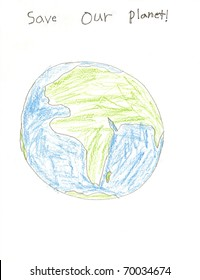 A child's drawing of the Earth with Save Our Planet writing.