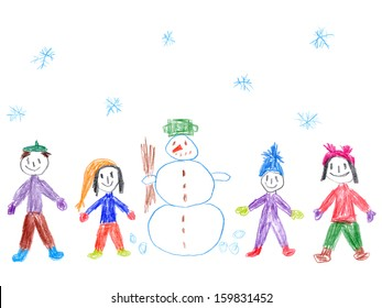 Child's drawing of a family with snowman in snowy weather.