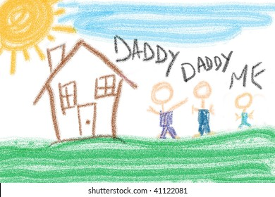 Child's drawing of family unit outside house. Two fathers and one child.