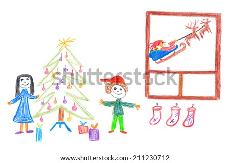 Childs Drawing Happy Christmas Kids Under Stock Illustration
