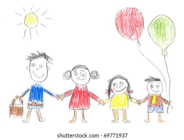 Child's drawing happy family. Father, mother, daughter and son.