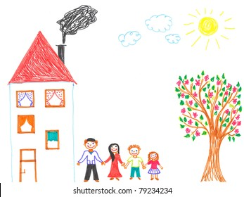 Child's drawing happy family. Father, mother, son, daughter and their big house with tree in garden.