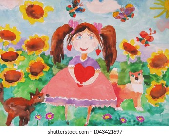 Child's drawing of a happy  girl on a meadow with a sunflower