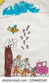 Child's drawing : happy princesses with gold crown play near a tree and a pink car. Childhood concept