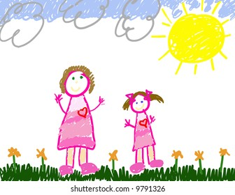 Child's drawing of her & mom