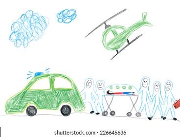 Child's drawing of paramedics transporting Ebola infected patient.