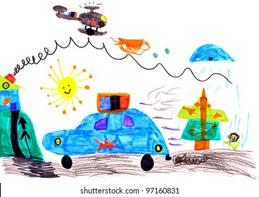 child's drawing. police car and helicopter