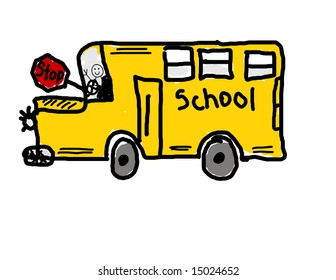 Child's drawing of a school bus