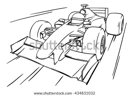 Childs Funny Fast Cartoon Formula Race Stock Illustration 434831032