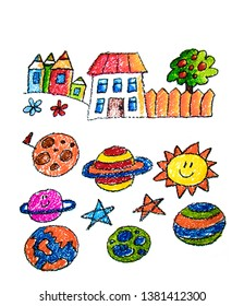 Child's painting on paper. Kids drawing image. Space exploration. School, kindergarten illustration. Play and grow. Crayon image. Ufo, alien, spaceship, rocket.